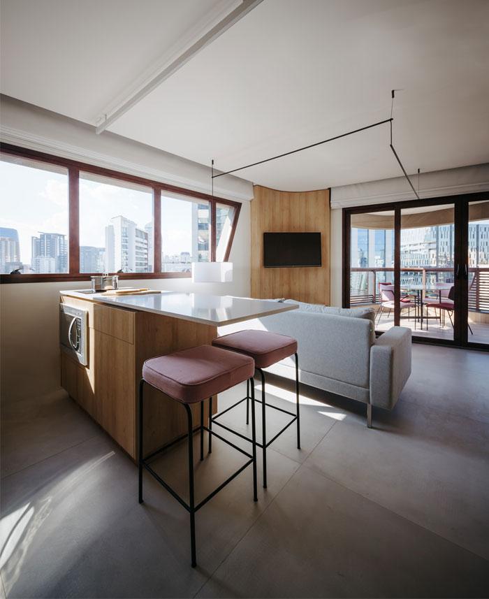 42 sq m open floor plan apartment Sao paulo 2