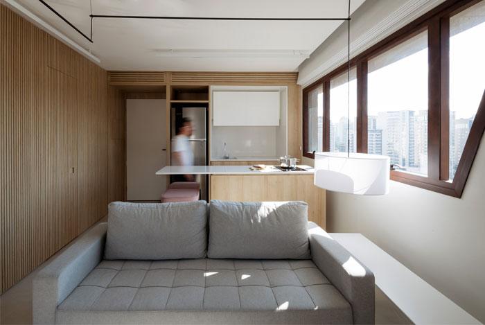 42 sq m open floor plan apartment Sao paulo 4