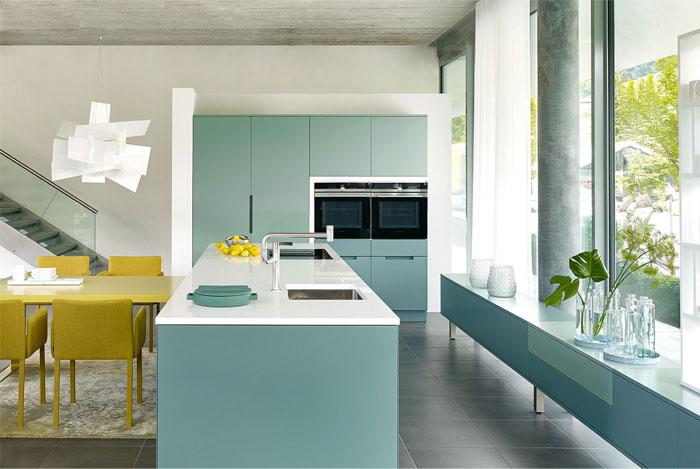 blue green kitchen