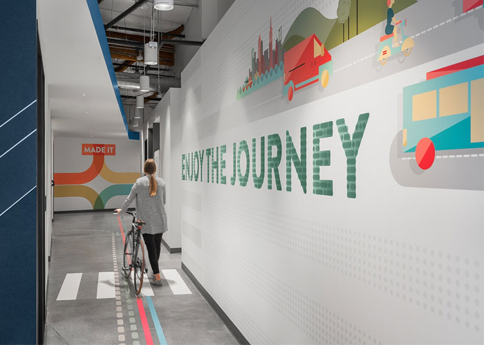 colorful linkedin office wayfinding system 2