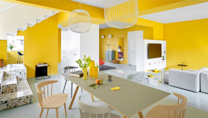 house p yellow apartment interiors mddm 12
