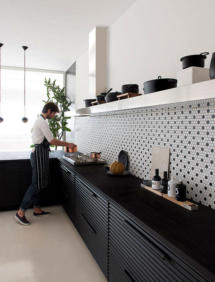 big kitchen hood black cabinets