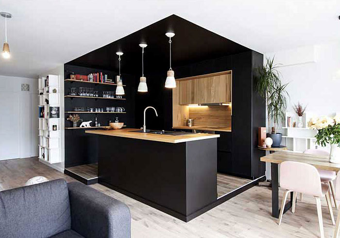 black cabinets natural wood accents