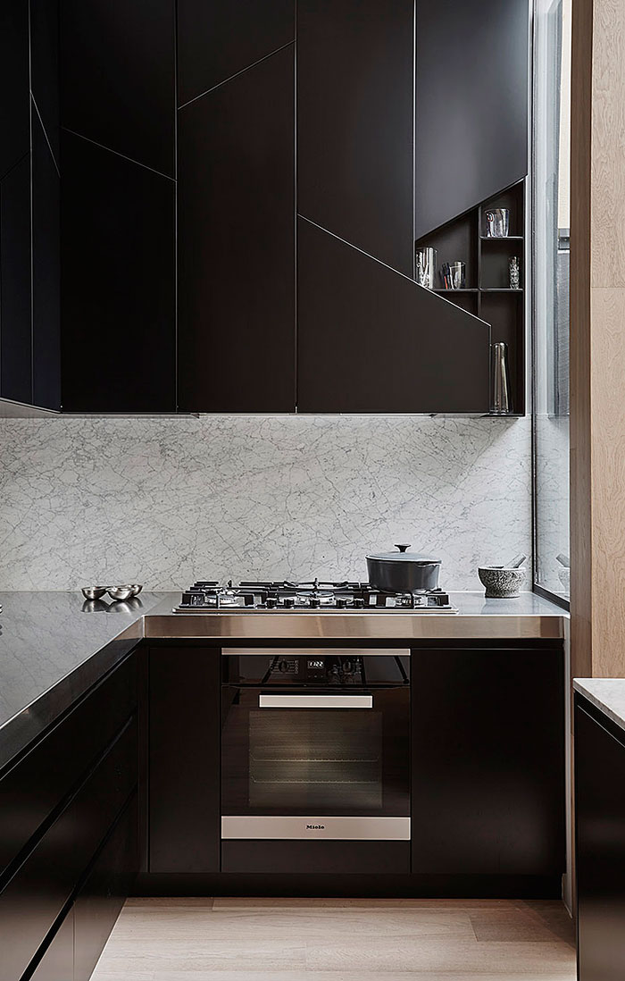 black cabinets paly in shapes and geometry