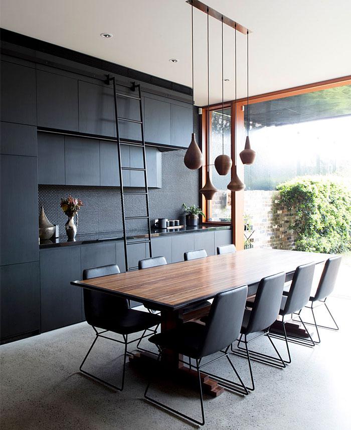 black kitchen backyard view