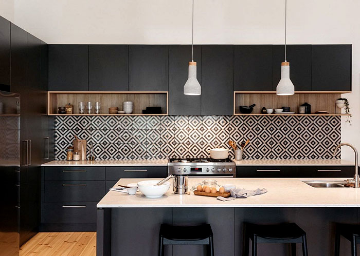 black kitchen geometric tiles backsplash