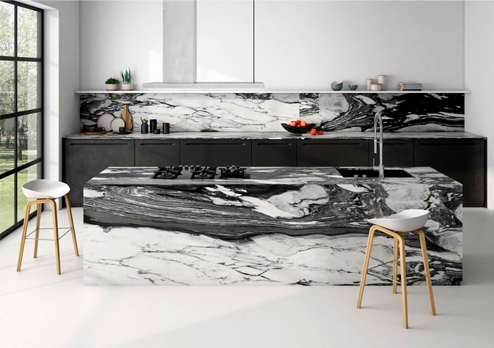 black kitchen gray marble island backsplash