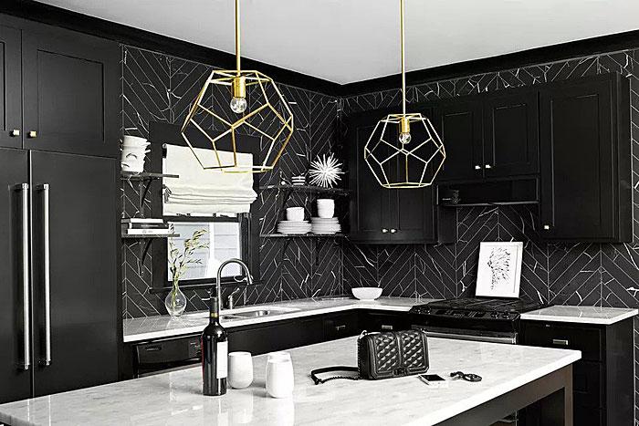 black kitchen herringbone tiles