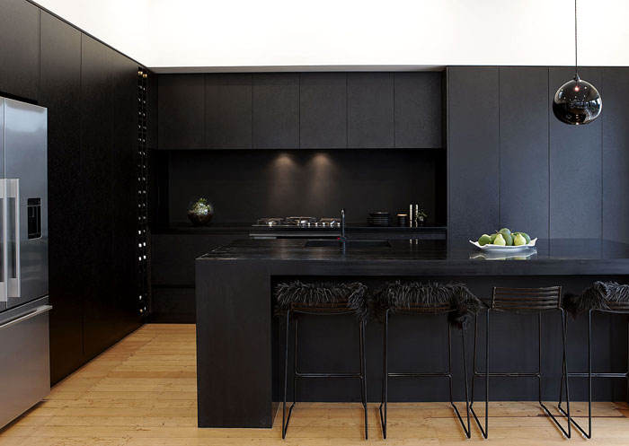 black kitchen island with seating