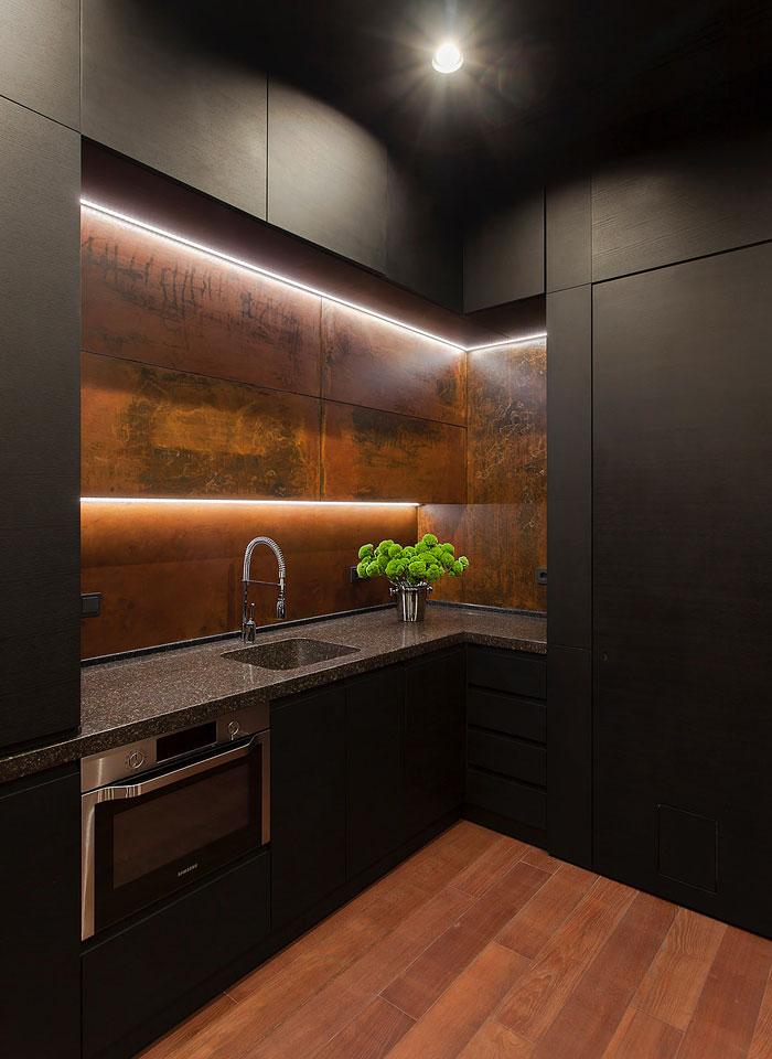black kitchen marble backsplash