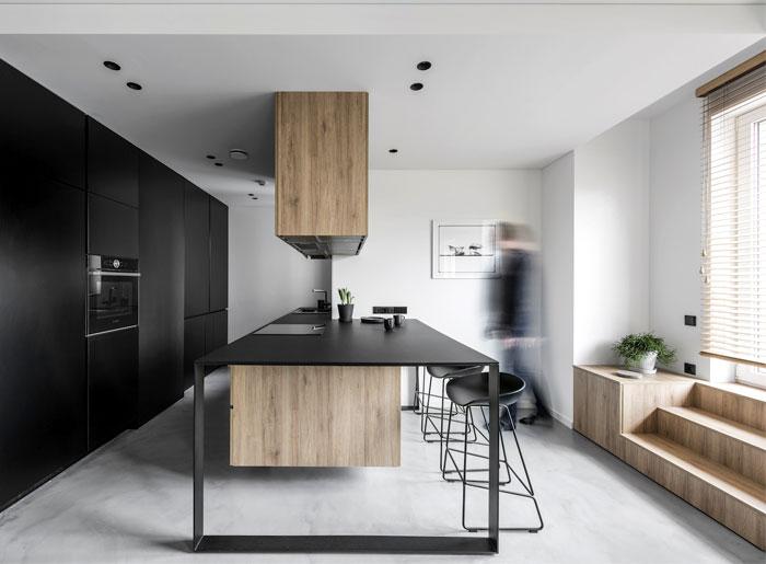 black kitchen transparent metal island