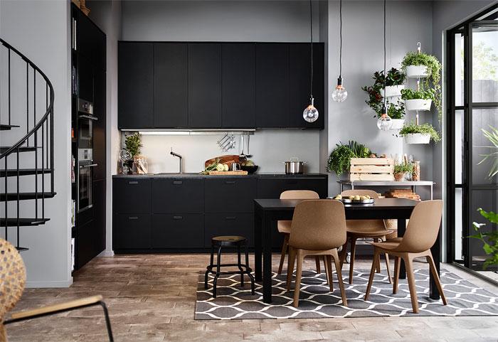 contemporary black kitchens