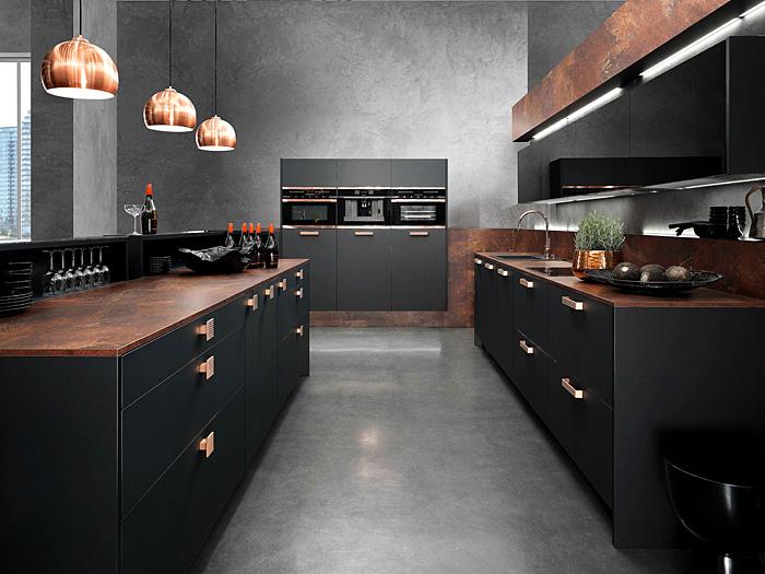 dark gray kitchen copper