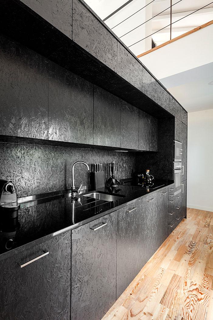 diy osb black kitchen cabinets