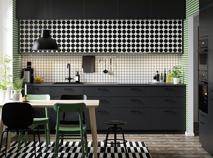 geometric pattern black kitchen