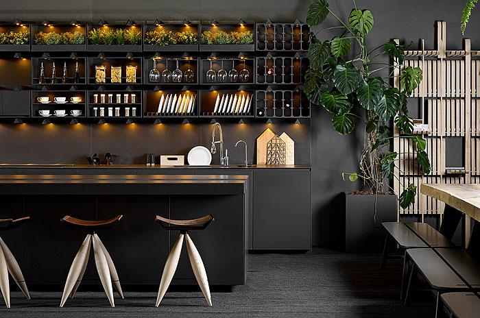 industrial black kitchen design