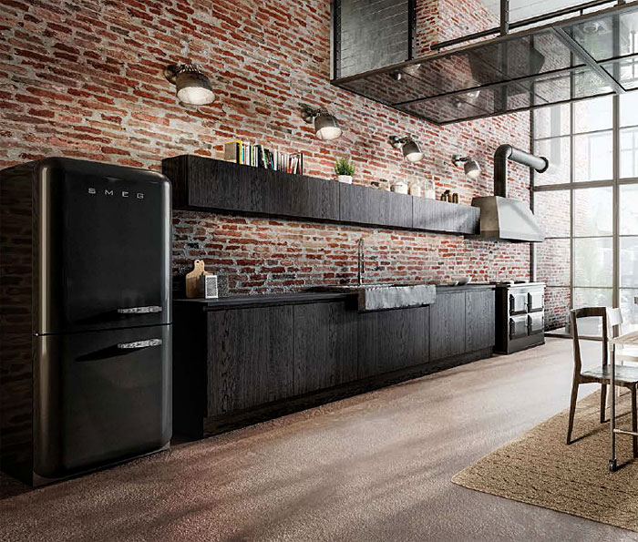industrial black kitchen exposed brick wall