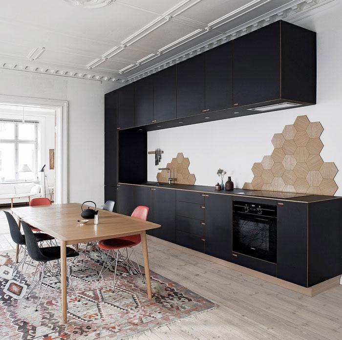 kitchen hexagonal tiles backsplash idea