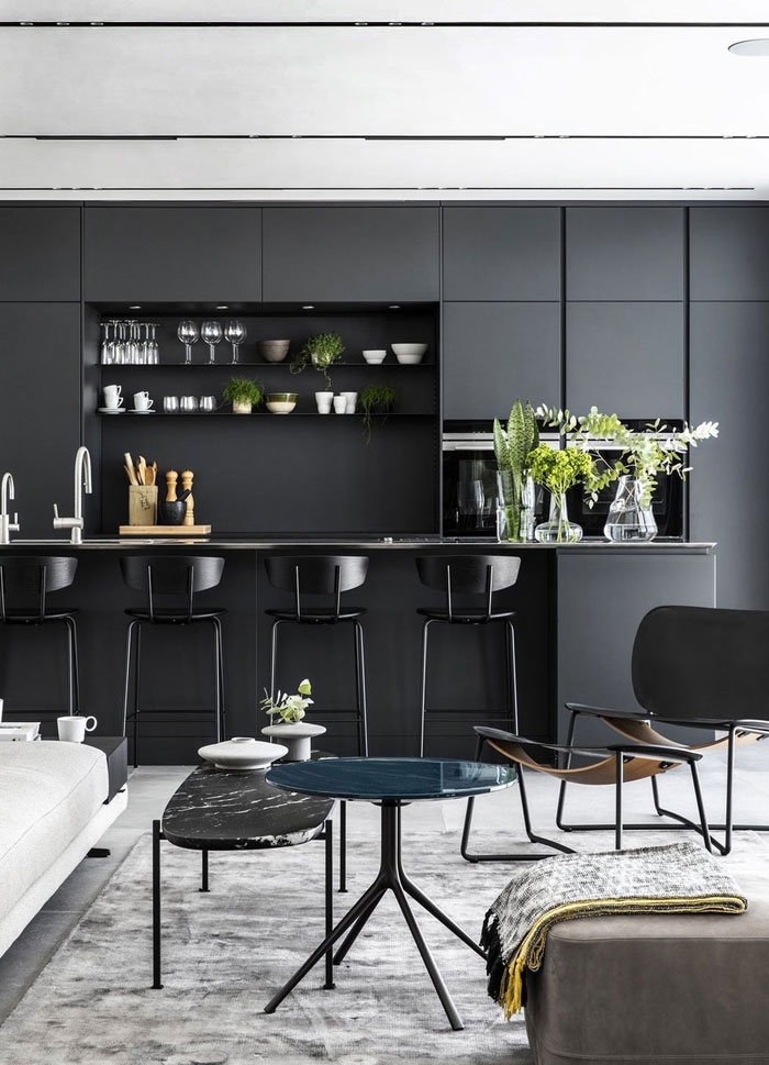 kitchen with black cabinets 2