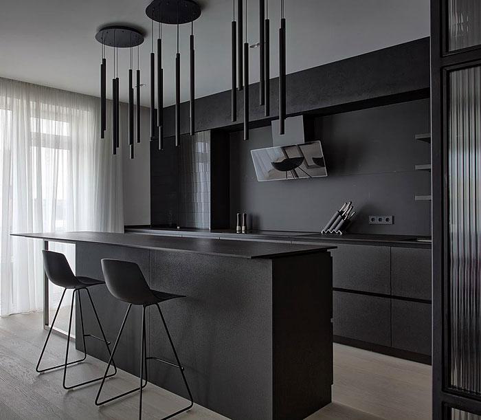modern black kitchen island