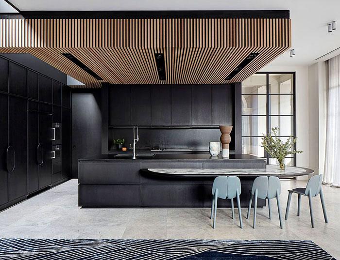 natural wood ceiling black kitchen 2