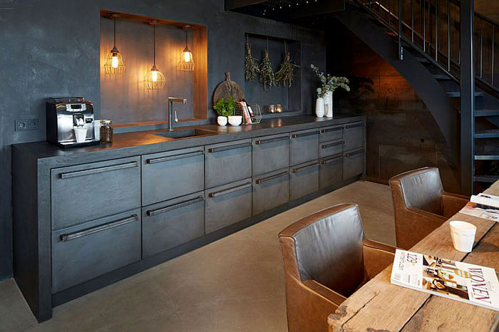 old industrial style black kitchen