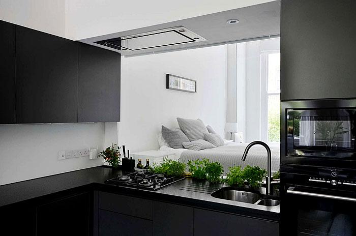 open black kitchen bedroom