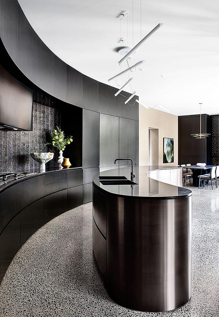 oval black kitchen island
