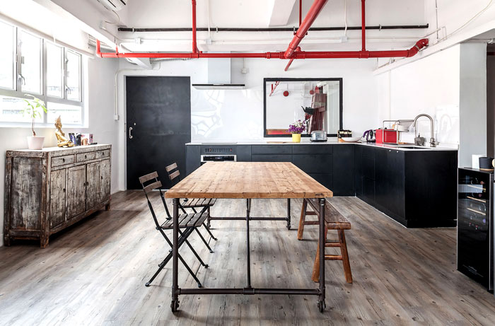 red piping decoration black kitchen