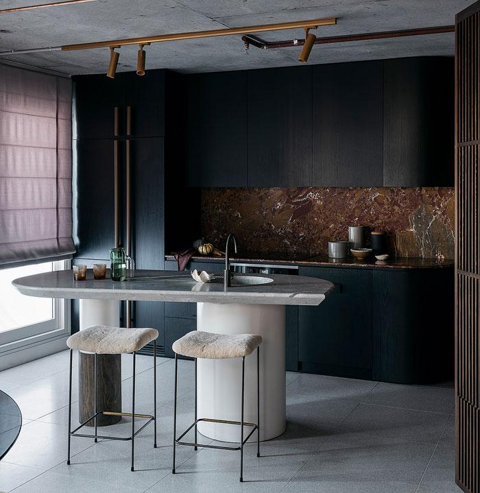 retro style black kitchen marble island
