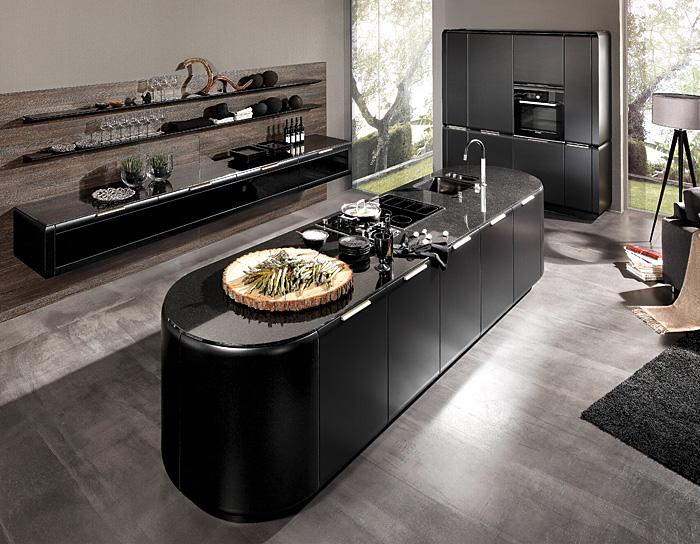 rounded black kitchen island