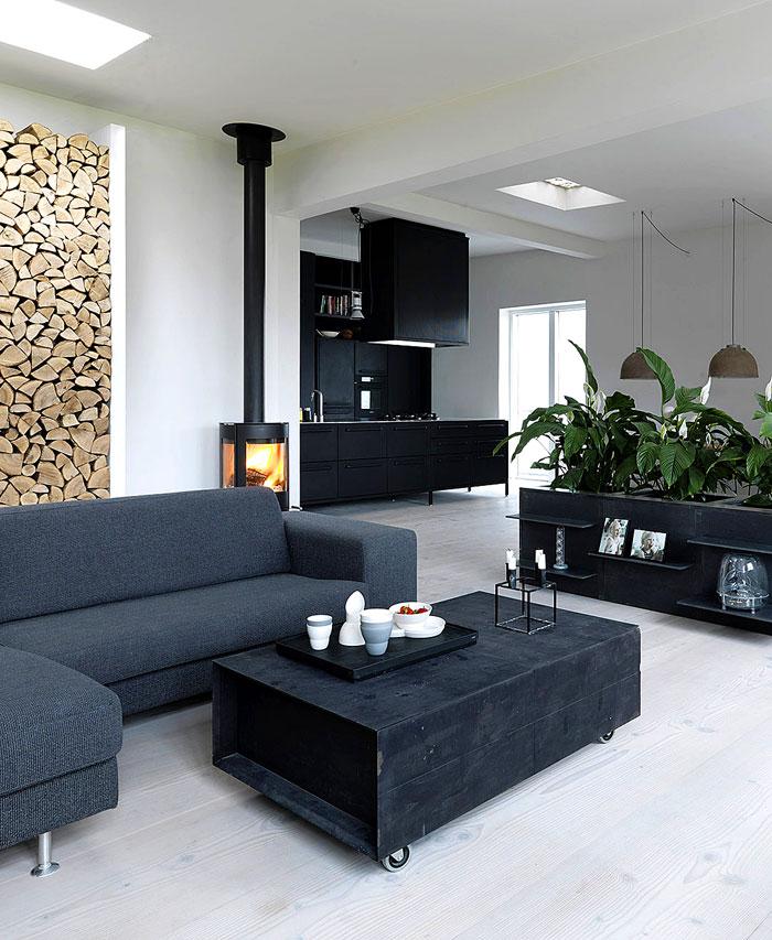 scandinavian style home black kitchen
