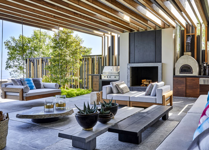built in outdoor kitchen hillside view arrcc