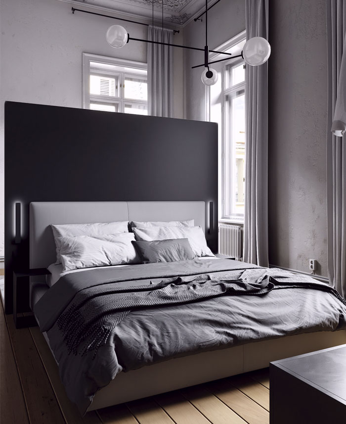minimalist monochrome bedroom decor