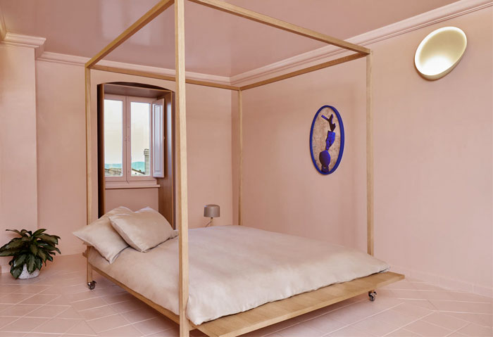 minimalist silhouette canopy bed 2