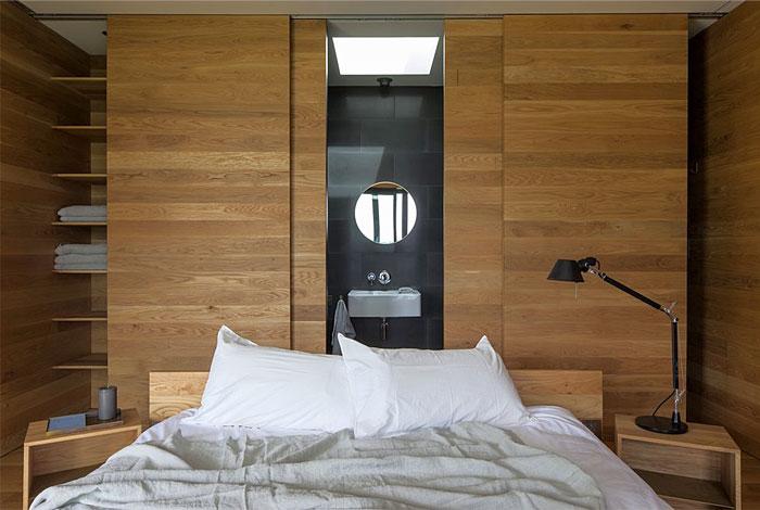 modern minimalism bedroom clad walls 1