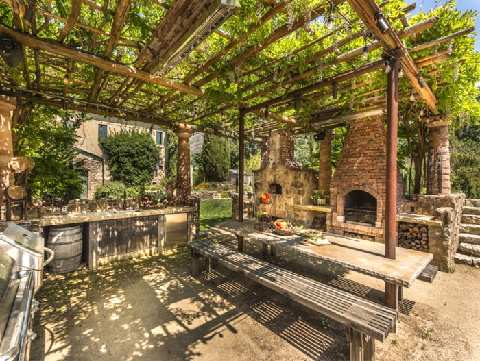 napa winery rustic outdoor kitchen