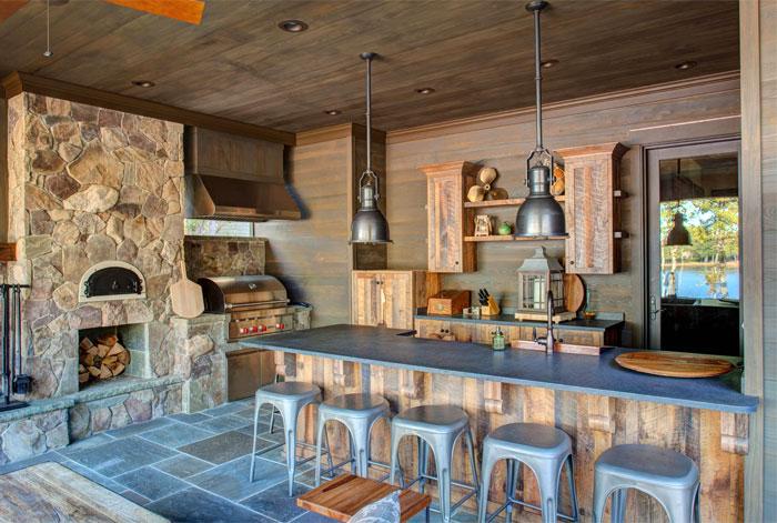 rustic outdoor kitchen augusta homes