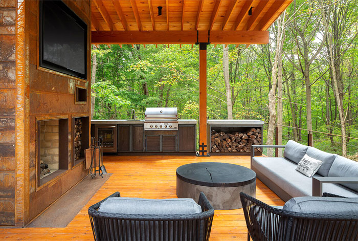 rustic outdoor kitchen gaskil larchitecture