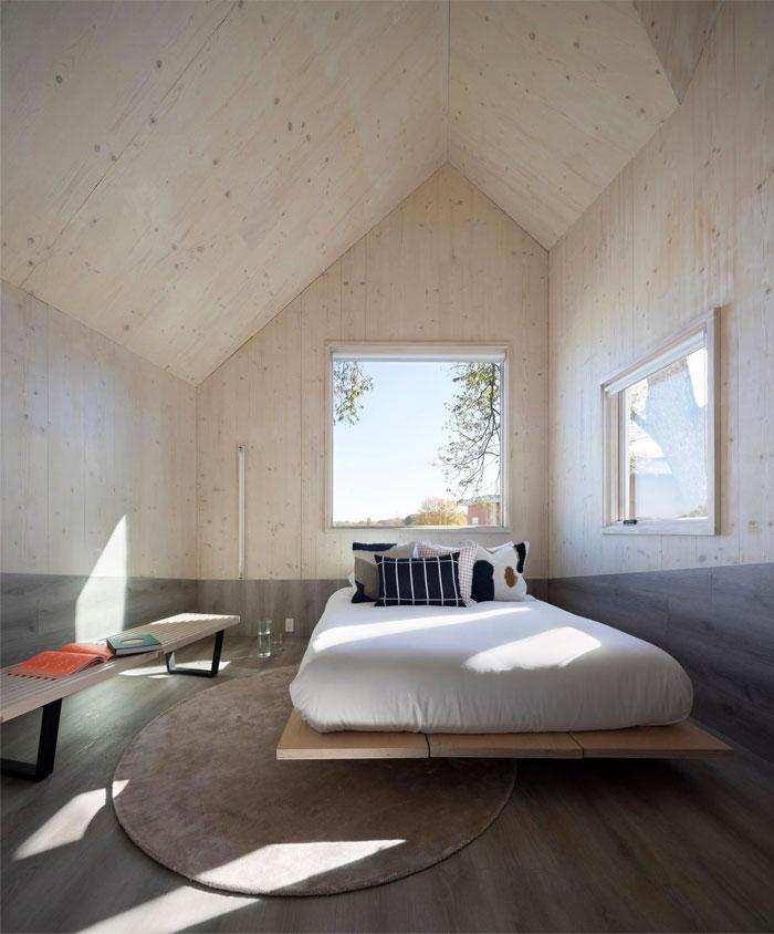 wooden cladding minimalist bedroom 1