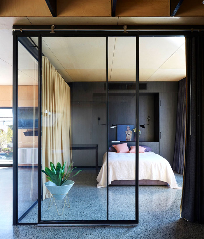 wooden cladding minimalist bedroom 2