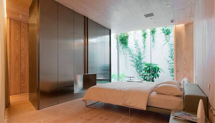 wooden cladding minimalist bedroom 3