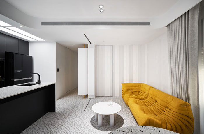 white interior design yellow house 10