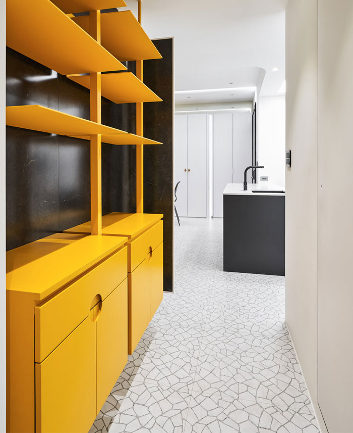 white interior design yellow house 13
