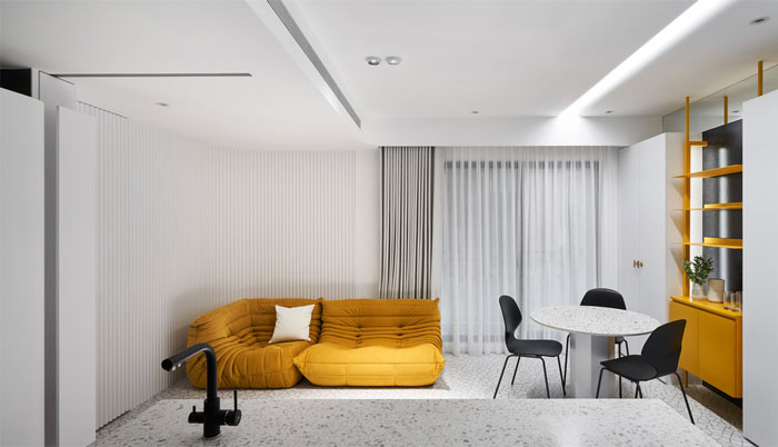 white interior design yellow house 3