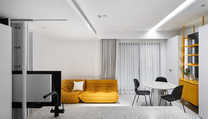 white interior design yellow house 4