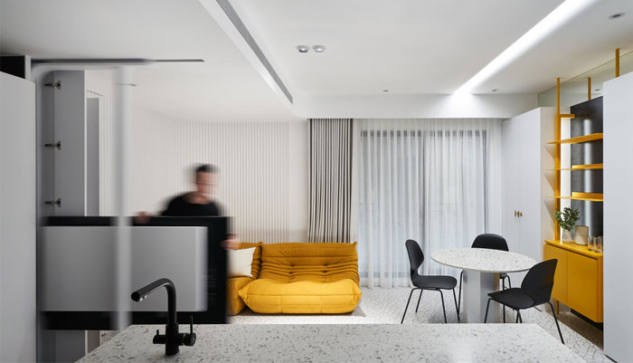 white interior design yellow house 5