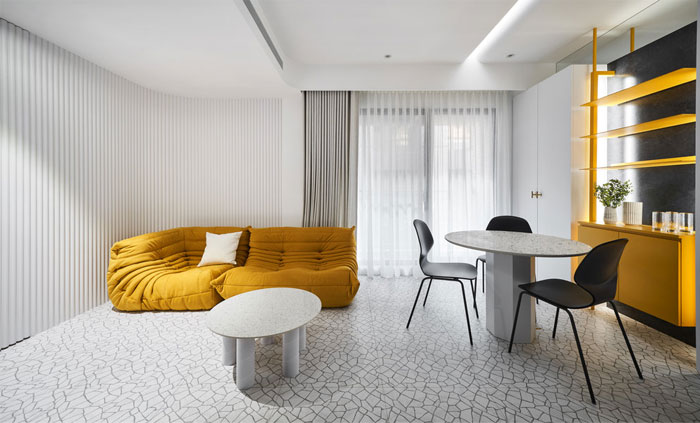 white interior design yellow house 6