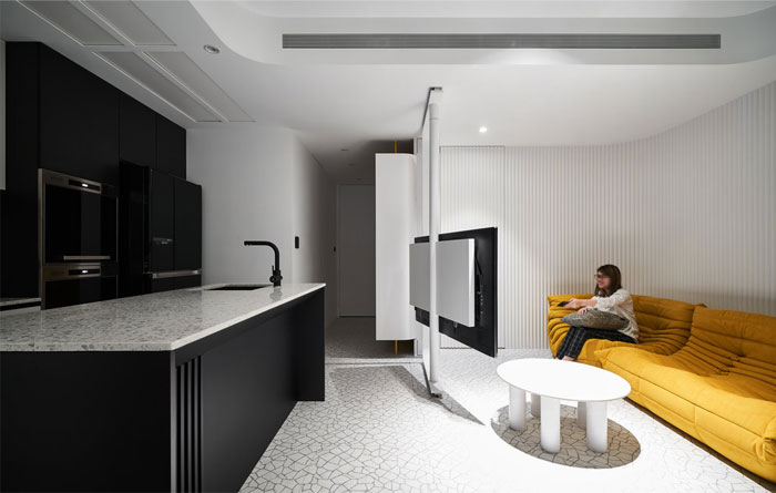 white interior design yellow house 8