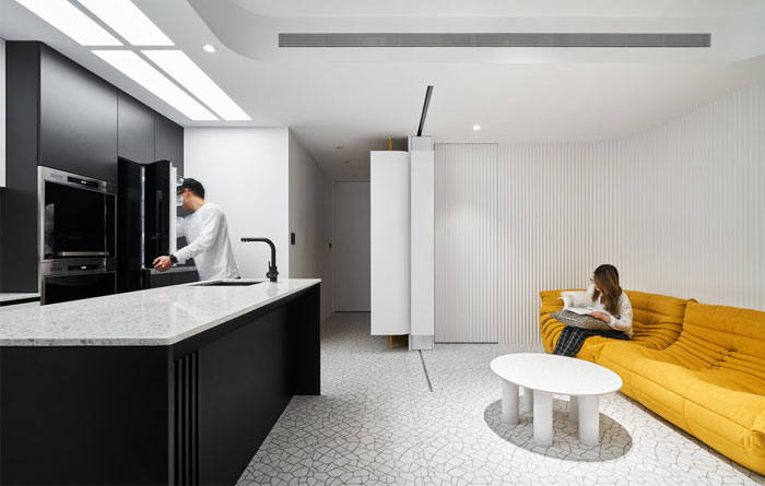 white interior design yellow house 9